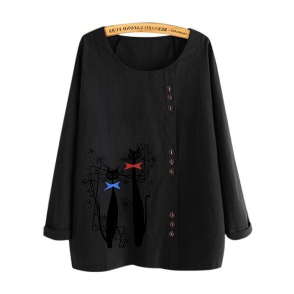 Kvinnor Tryckta solida skjortor Knappdekor Rund halsblus