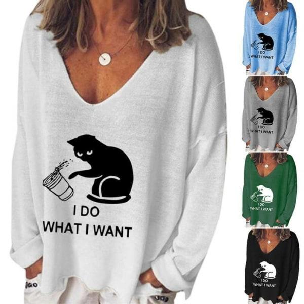 Kvinnor Tryckt V-ringad T-shirt Långärmad lös t-shirtblus höst