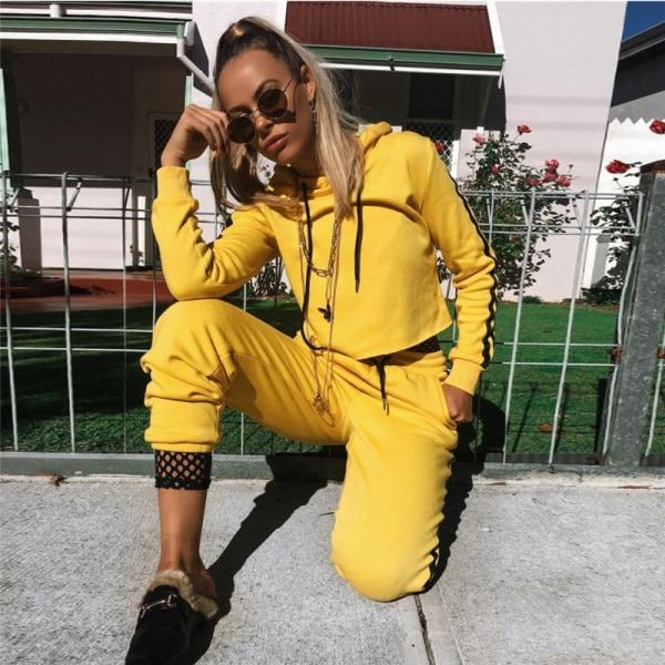 Women's 2-Piece Sportswear Set Hooded Sweatshirt and Pants Set yellow L