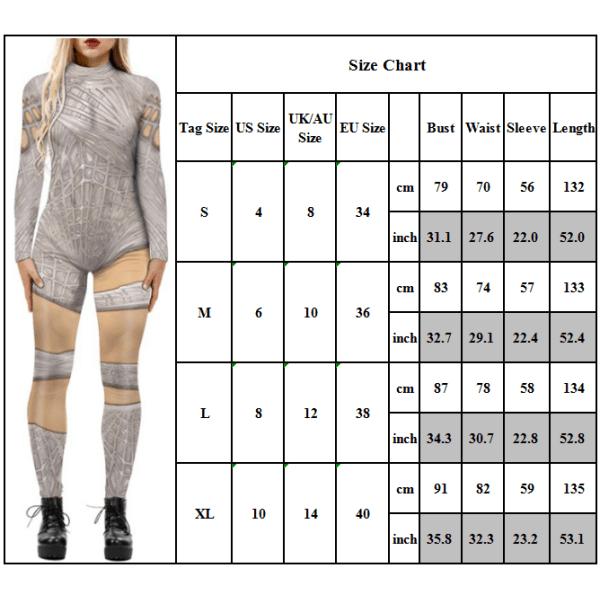 Kvinnors cosplay åtsittande långärmad kostymoverall