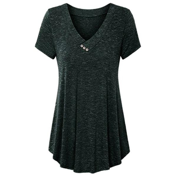 T-shirt med djup V-knapp för kvinnor Mode Kortärmad Dark green L