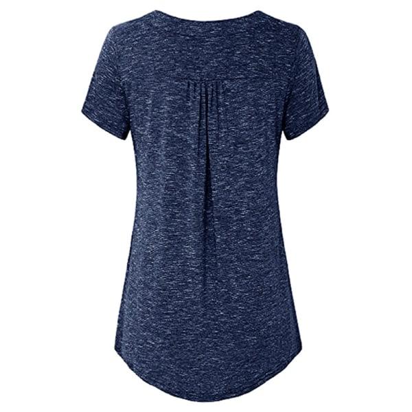 T-shirt med djup V-knapp för kvinnor Mode Kortärmad Navy S