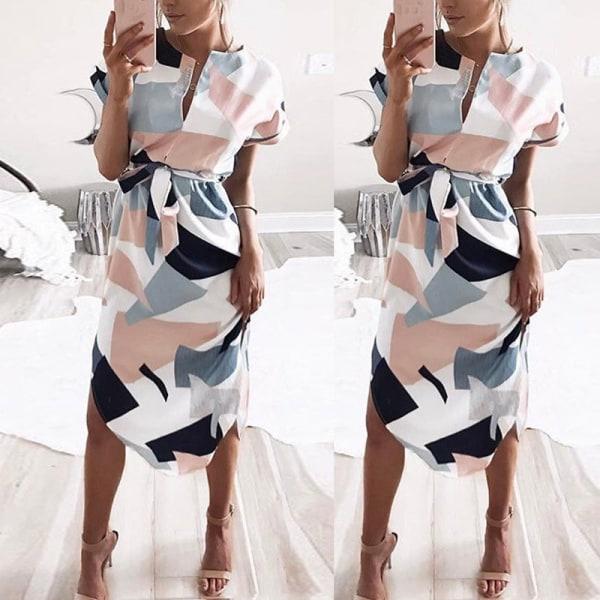 Damklänning sommar casual tryck geometriskt mönster bälte klänning white XL