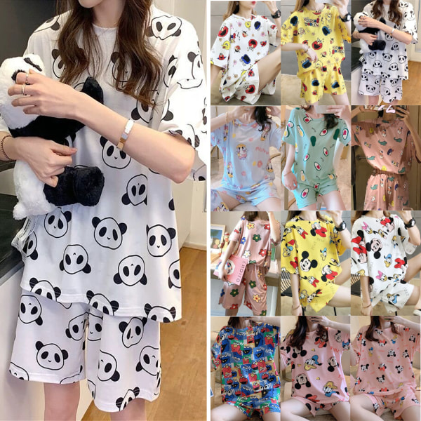 Dammode pyjamas med kort ärm och tryck White Mickey XL