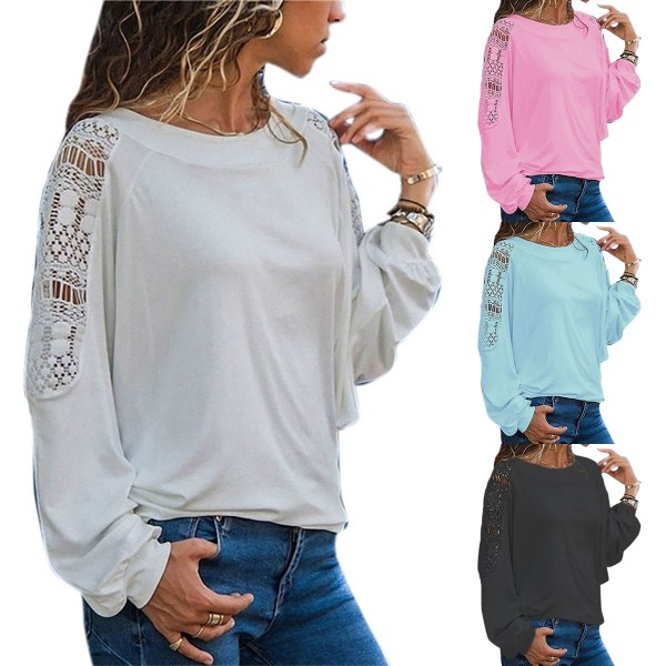 Women's Floral Top Round Neck Elegant Long Sleeve Shirt pink S