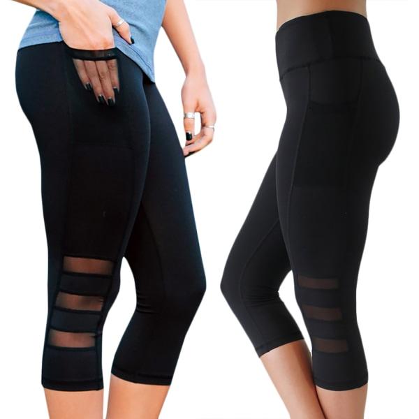 Women's High Waist Pocket Yoga Fitness Pants Sweatpants black S