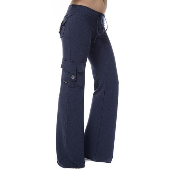 Kvinnors hög midja midja knapp ficka yoga byxor tröja blue L
