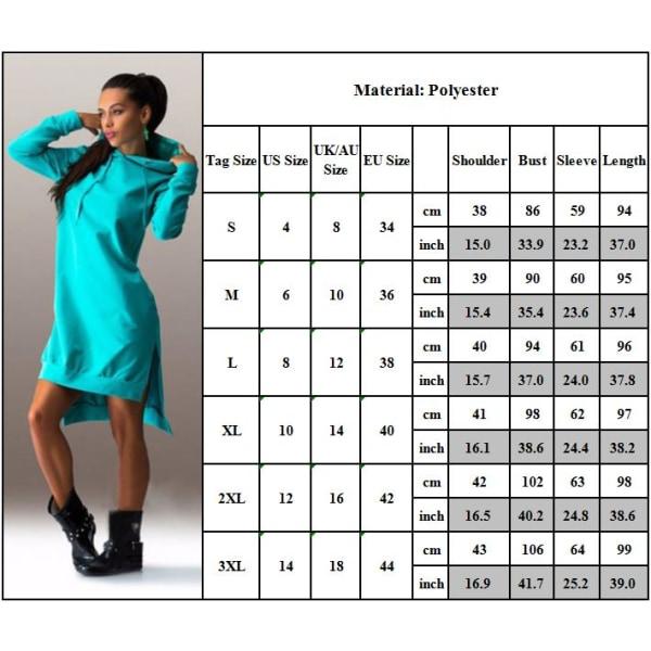 Långärmad luvtröja med huva för kvinnor Klänningtröja black XL