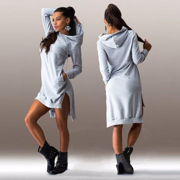 Långärmad luvtröja med huva för kvinnor Klänningtröja gray XL