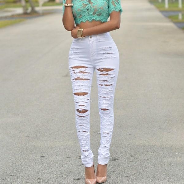 Byxor med flera byxor för kvinnor vit M