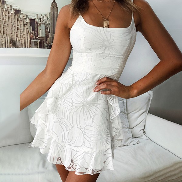 Kvinnors nya klänning _ ärmlös klänning med ett ord _ kort skida white S