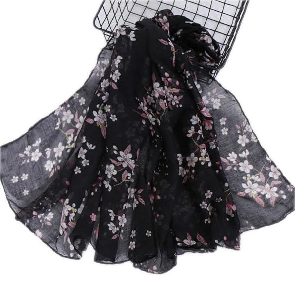 Damtryckt halsduk Temperament Halsduk Sjal Mode black