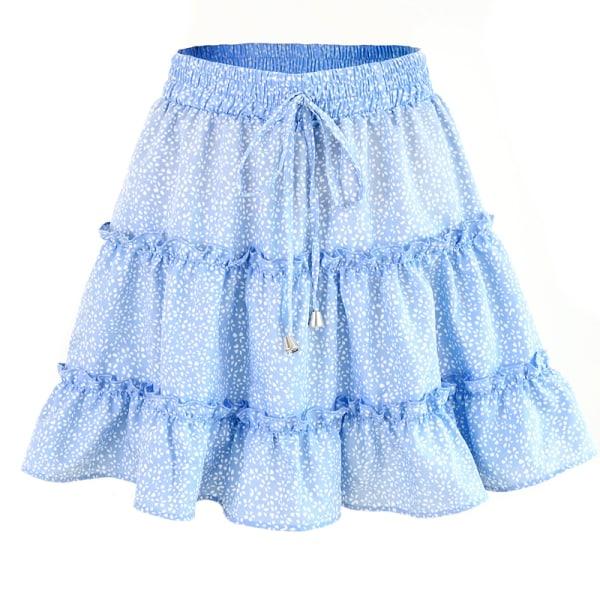 Sommar dam hög midja ruffle blommig strand A-line kjol blue dot S