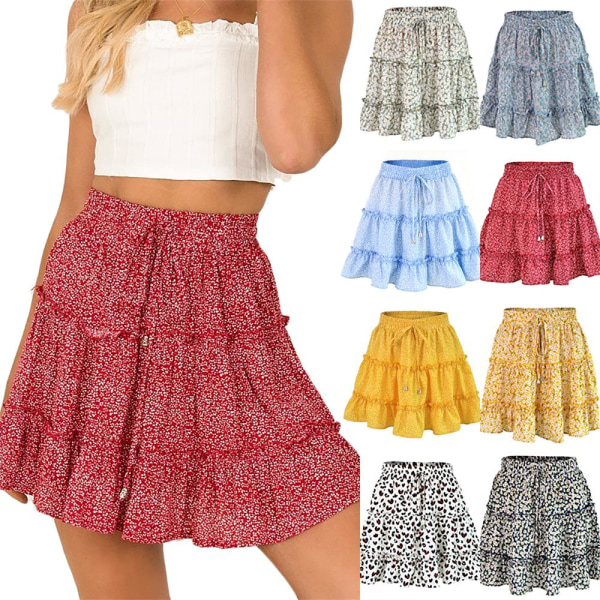Sommarkvinnor Hög midja Ruffle Floral Beach A-line kjol green XL