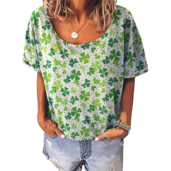 Kvinnors retro-tryck rund hals plus storlek kortärmad T-shirt green XL