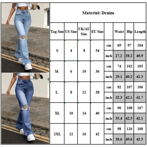 Kvinnors sexiga mode utsvängda knän rippade denim, skinny jeans dark blue 2XL