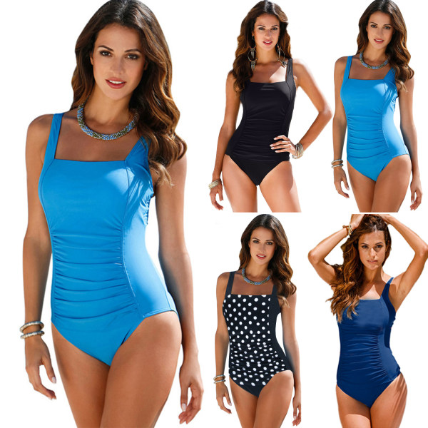 Women's sexy swimsuit, pleated one-piece beach swimsuit black L