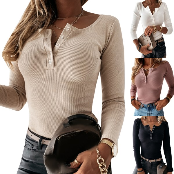 Women's sexy solid color button bottoming shirt long sleeve top apricot 2XL