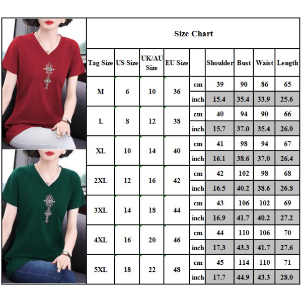 Kvinnors sommar plus storlek kortärmad T-shirt lös topp red 5XL
