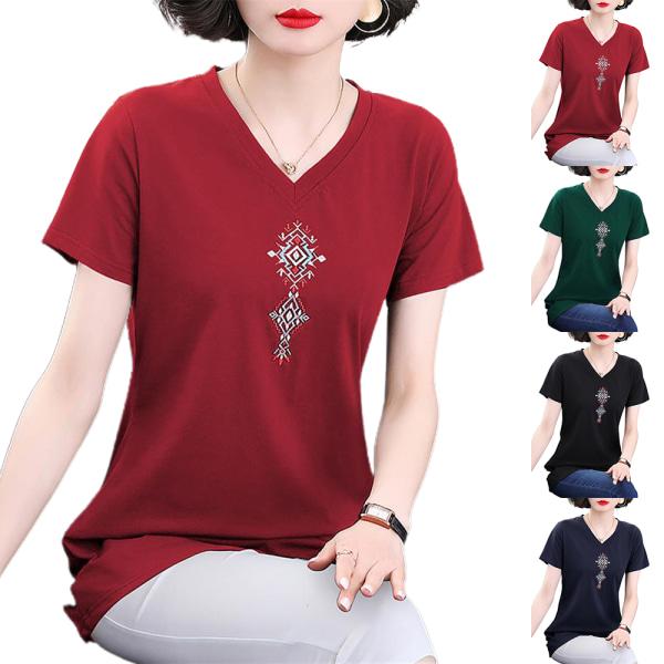 Kvinnors sommar plus storlek kortärmad T-shirt lös topp black 2XL