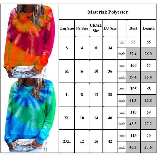 Kvinnors slipsfärgad rund hals långärmad avslappnad topp green L