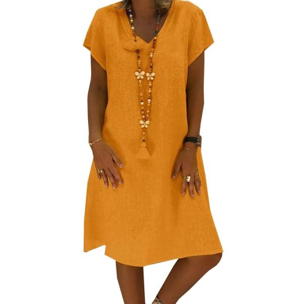 Kvinnors V-ringad kortärmad klänning, avslappnad kjol i streetstil orange 4XL