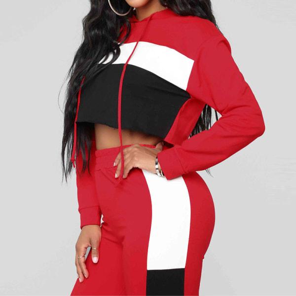 Kvinnors sexiga färg matchande Hooded Slim Fit Sports Lounge Set red top S