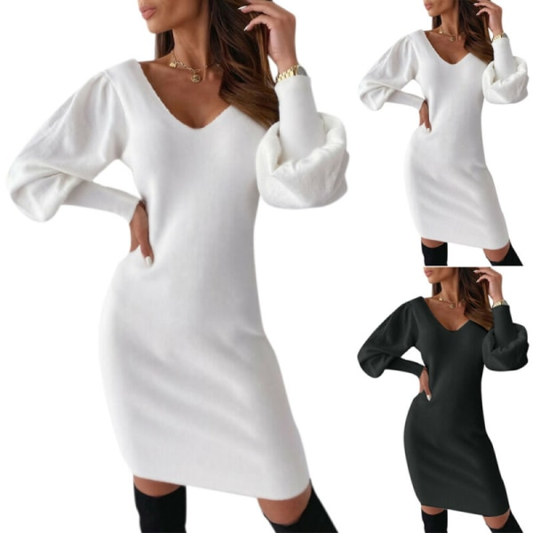 Kvinnors sexiga rygglösa klänning V-ringad parti Casual Midiklänning