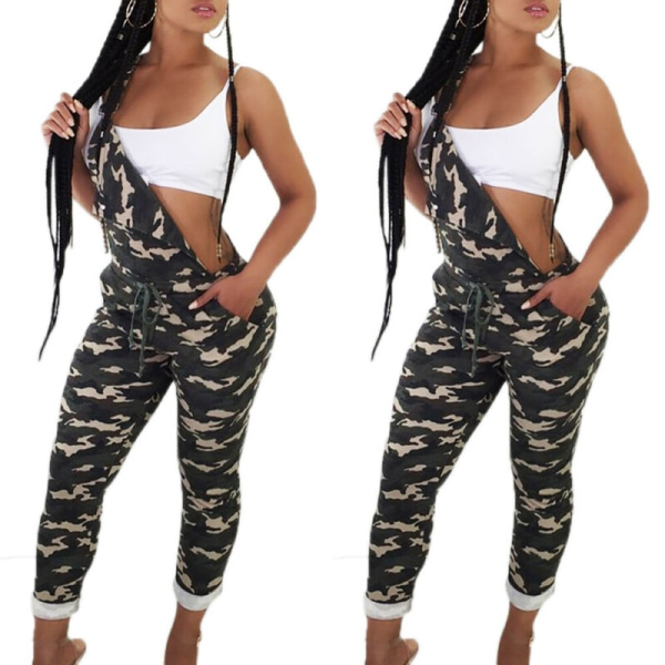 Kvinnor Ärmlös Camo Nightclub Suspenders Pocket Jumpsuit Pants Green L