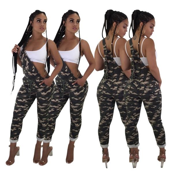 Kvinnor Ärmlös Camo Nightclub Suspenders Pocket Jumpsuit Pants