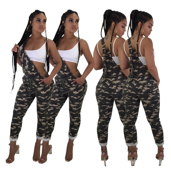 Kvinnor Ärmlös Camo Nightclub Suspenders Pocket Jumpsuit Pants Green 2XL