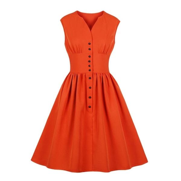 Kvinnor V-ringad klänning med enfärgad knapp