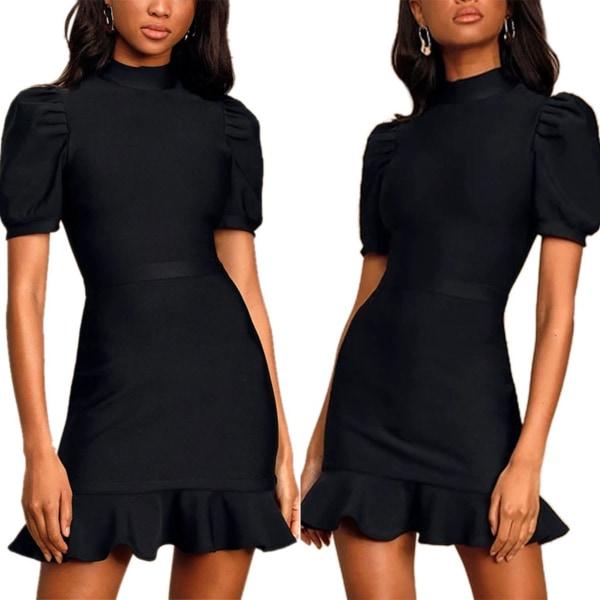 Kvinnor solid stå-hals väska ärm ruffle mini klänning