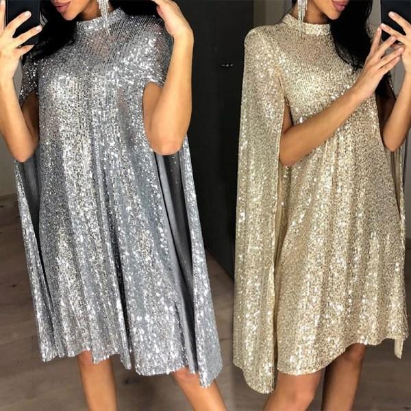 Kvinnor staty-hals Cape ärm paljetter Flash Party Club kort klänning