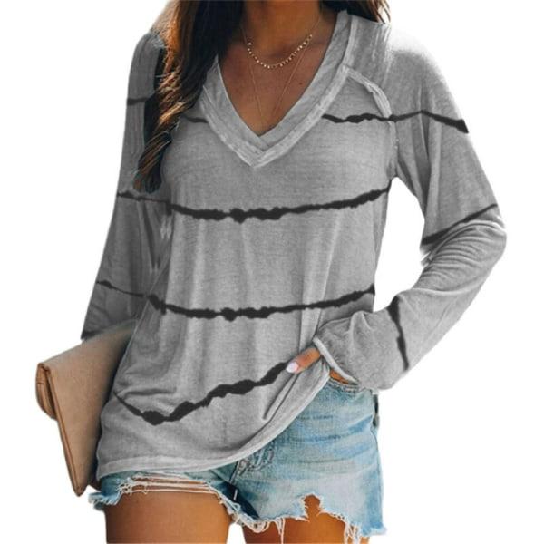 Kvinnor randig långärmad T-shirt lösa blus toppar plus storlek Light Blue 5XL