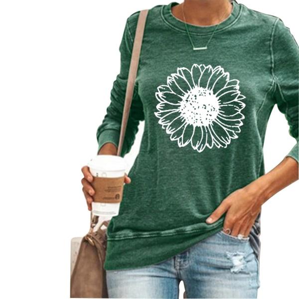 Kvinnor solros långärmad t-shirt toppar höst vinter plus storlek Green M