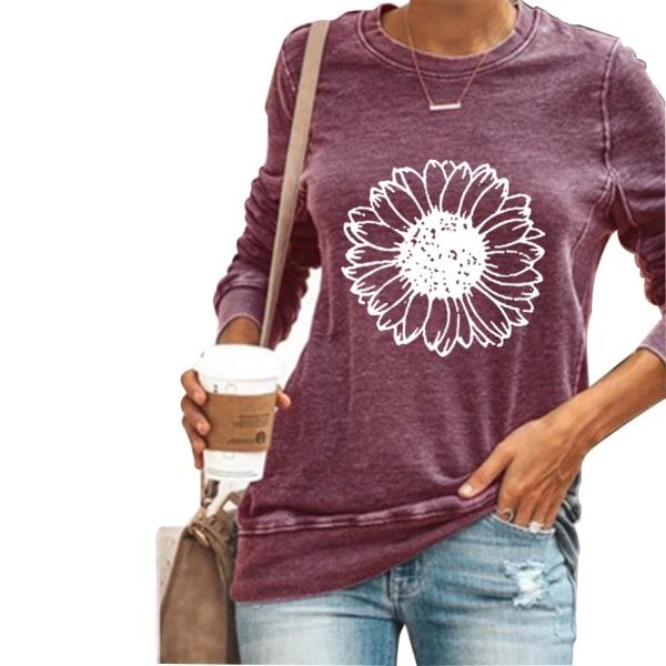 Kvinnor solros långärmad t-shirt toppar höst vinter plus storlek Wine Red L