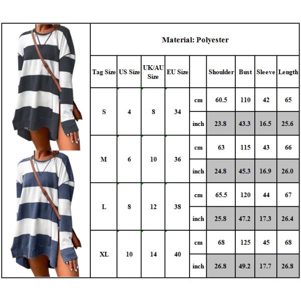 Kvinnor Sweatshirts Randigt tryck Långärmad Mode Casual Black + White XL
