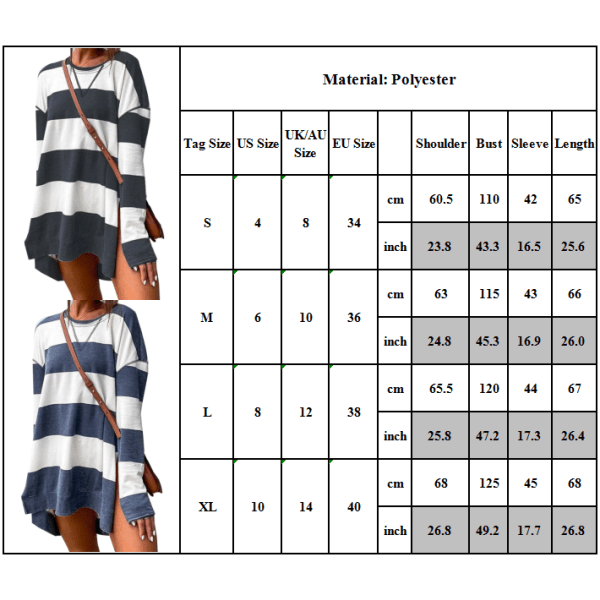 Kvinnor Sweatshirts Randigt tryck Långärmad Mode Casual Grey + White XL