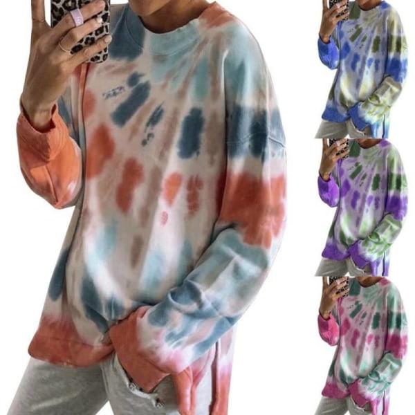 Kvinnor Tie Dye Casual Långärmad Loose Baggy Pullover Toppar Sky Blue 3XL