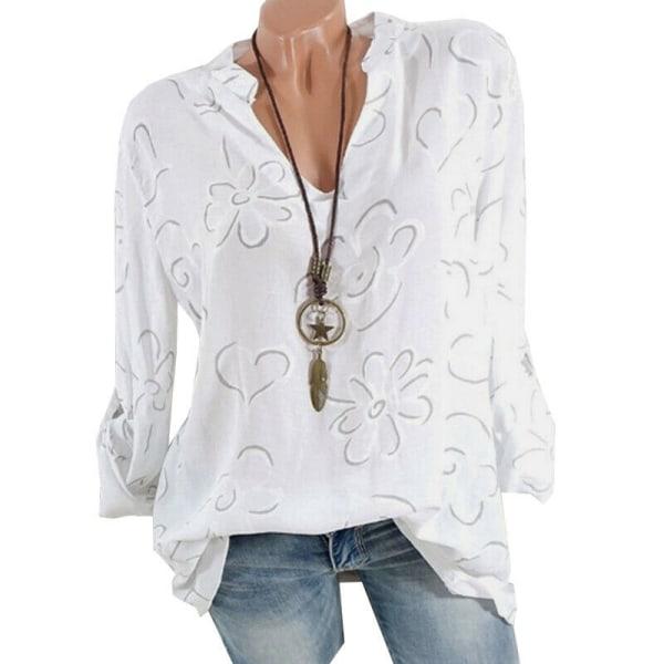 Kvinnors V-ringade blommönstrade skjortor Strand Långärmad lös T-shirt Light Blue M