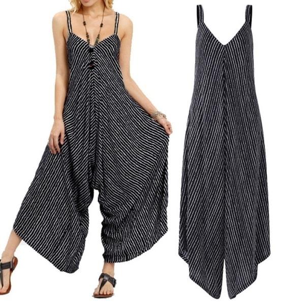 Dam V-ringad randig ärmlös jumpsuit sommar black XL