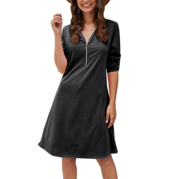 Kvinnor V-ringad blixtlås A-linje Casual klänning