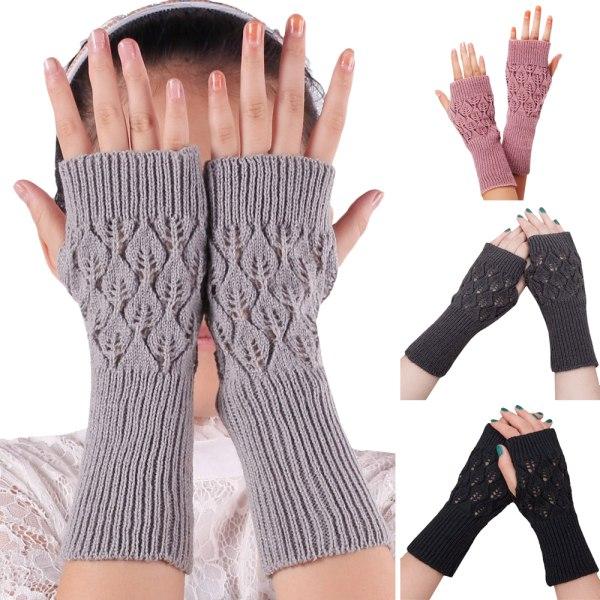 Kvinnans fingerfria handskar Handskar Halva fingerhandskar Light gray
