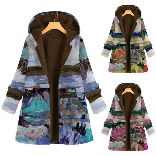 Kvinnor Winter Warm Casual Hooded Long Sleeve Jacket Coat Soft