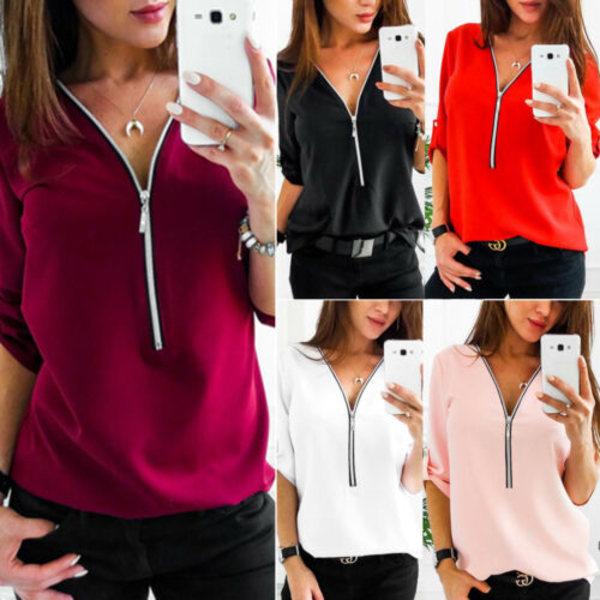 Kvinnor Zip Neck långärmad blus Dam V-ringad skjorta Casual Black 3XL