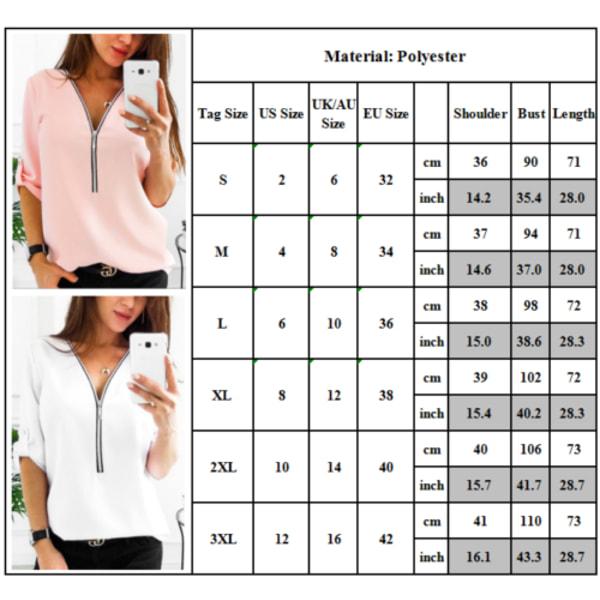 Kvinnor Zip Neck långärmad blus Dam V-ringad skjorta Casual