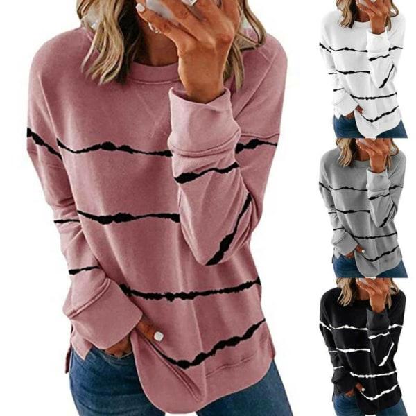 Kvinnors höst Basic avslappnad rundhalsad randtryckt rese toppar Black S