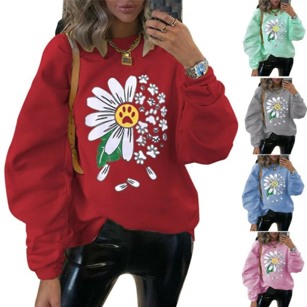 Womens Chrysanthemum Sweatshirt Winter Warm Hoodies Toppar Tröja