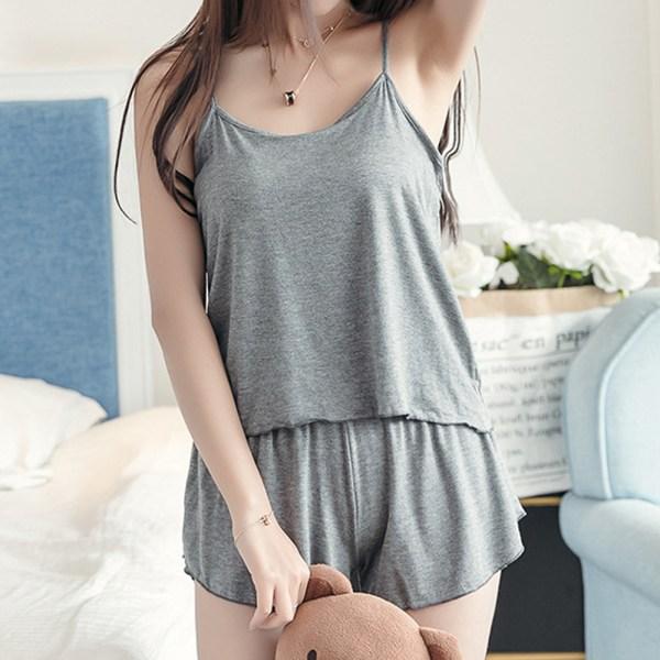 Kvinnors bekväma två delar baggy pyjamas Nattkläder Plus Size Gray L